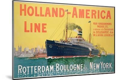Poster Advertising 'Holland-America Line'-French School-Mounted Premium Giclee Print