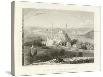 Mosque and Tomb of Suleiman, Constantinople-William Henry Bartlett-Stretched Canvas Print