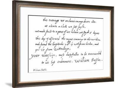 William Baffin--Framed Giclee Print