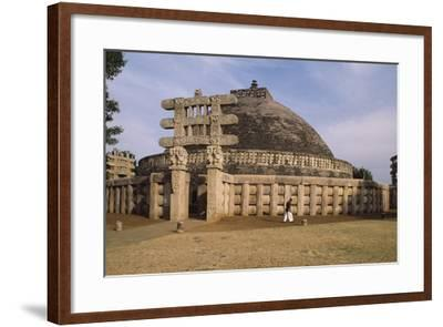West Gate of the Stupa I in Sanchi--Framed Photographic Print