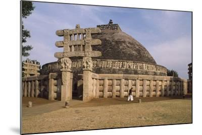 West Gate of the Stupa I in Sanchi--Mounted Photographic Print