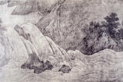 Landscape with Waterfall-Kano Motonobu-Framed Giclee Print