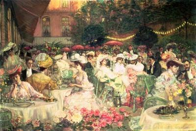 A Restaurant Terrace, 1904--Framed Giclee Print