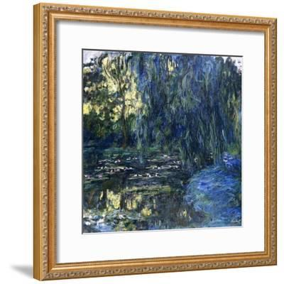 View of the Lilypond with Willow, C.1917-1919-Claude Monet-Framed Giclee Print