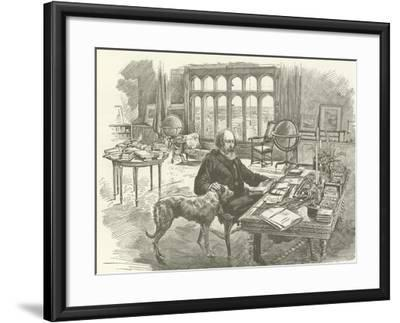 Tennyson in His Library--Framed Giclee Print