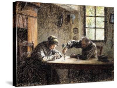 Man and Woman Drinking Eau De Vie-L?on Augustin L'hermitte-Stretched Canvas Print