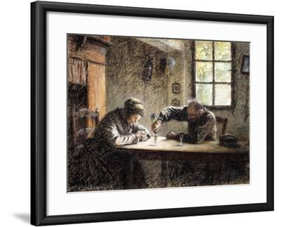 Man and Woman Drinking Eau De Vie-L?on Augustin L'hermitte-Framed Giclee Print