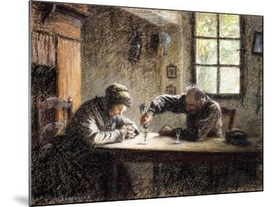 Man and Woman Drinking Eau De Vie-L?on Augustin L'hermitte-Mounted Giclee Print