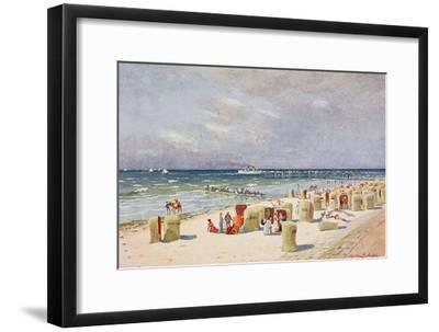 On the Beach on Norderney--Framed Giclee Print