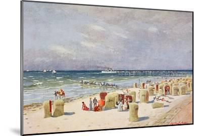 On the Beach on Norderney--Mounted Giclee Print