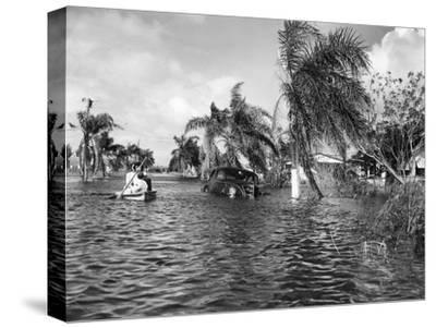 Flooded Street after the Hurricane, 1947--Stretched Canvas Print