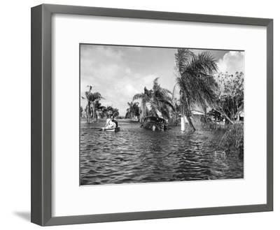 Flooded Street after the Hurricane, 1947--Framed Photographic Print