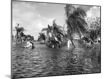 Flooded Street after the Hurricane, 1947--Mounted Photographic Print
