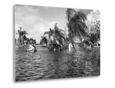 Flooded Street after the Hurricane, 1947--Metal Print