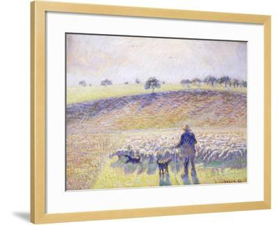 Shepherd with Sheep, 1888-Camille Pissarro-Framed Giclee Print