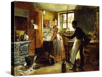 Below Stairs, 1885-Frederick Juengling-Stretched Canvas Print