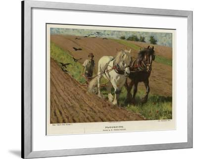 Ploughing by H Wheelwright--Framed Giclee Print