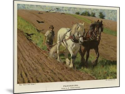 Ploughing by H Wheelwright--Mounted Giclee Print