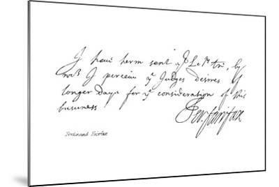 Ferdinand Fairfax--Mounted Giclee Print