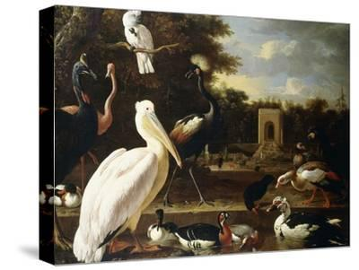 Many Different Types of Birds at a Pool in a Park-Melchior de Hondecoeter-Stretched Canvas Print
