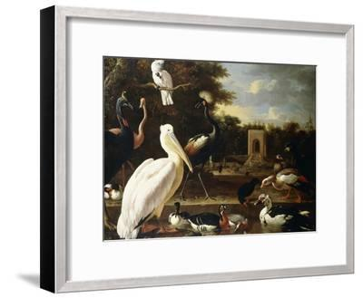 Many Different Types of Birds at a Pool in a Park-Melchior de Hondecoeter-Framed Giclee Print