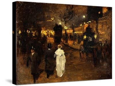 Charing Cross Road at Night, London, C.1905-Frederick Judd Waugh-Stretched Canvas Print