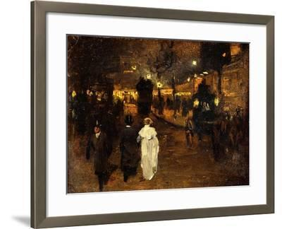 Charing Cross Road at Night, London, C.1905-Frederick Judd Waugh-Framed Giclee Print