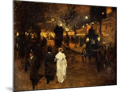 Charing Cross Road at Night, London, C.1905-Frederick Judd Waugh-Mounted Giclee Print