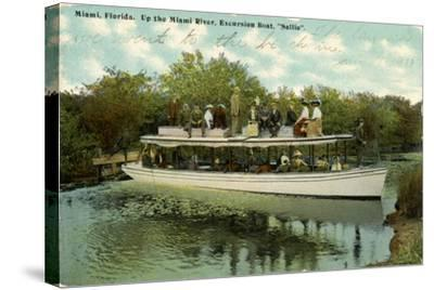 Up the Miami River Excursion Boat Sallie, C.1910--Stretched Canvas Print