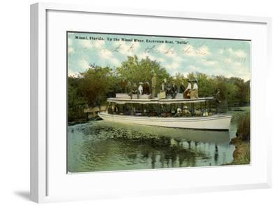 Up the Miami River Excursion Boat Sallie, C.1910--Framed Giclee Print