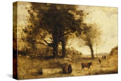 The Cows and the Well-Jean-Baptiste-Camille Corot-Stretched Canvas Print