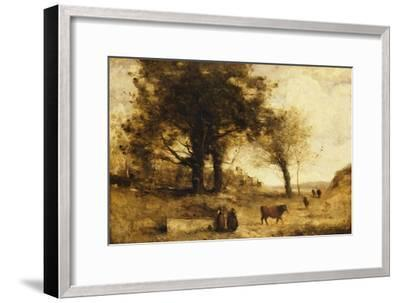 The Cows and the Well-Jean-Baptiste-Camille Corot-Framed Giclee Print