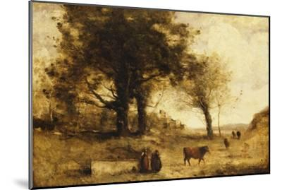 The Cows and the Well-Jean-Baptiste-Camille Corot-Mounted Giclee Print