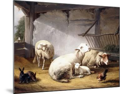 Sheep, Rabbits and a Chicken in a Barn, 1859-Eugene Joseph Verboeckhoven-Mounted Giclee Print