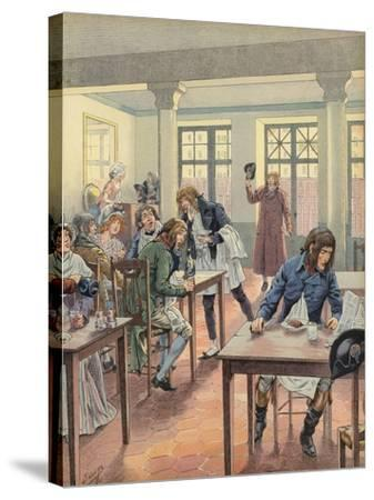 Napoleon Bonaparte Sitting in a Busy Restaurant--Stretched Canvas Print