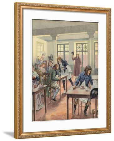 Napoleon Bonaparte Sitting in a Busy Restaurant--Framed Giclee Print