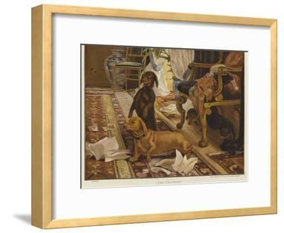 Three Dachshunds around a Chair in a Living Room-Otto Weber-Framed Giclee Print