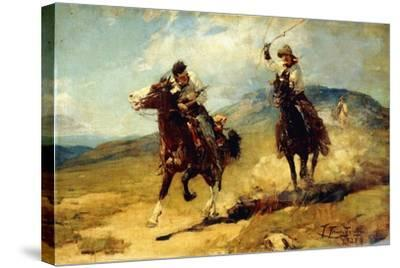 The Horse Thief, 1925-Frank Tenney Johnson-Stretched Canvas Print