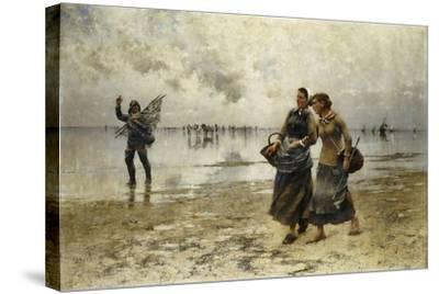 Low Tide-August Wilhelm Nikolaus Hagborg-Stretched Canvas Print