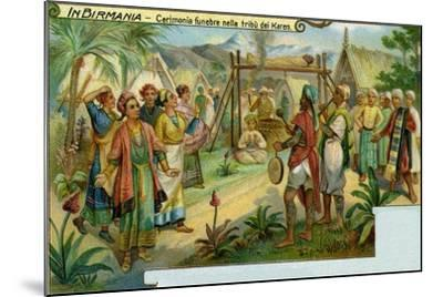 Funeral Ceremony Among the Karen Tribe in Burma--Mounted Giclee Print