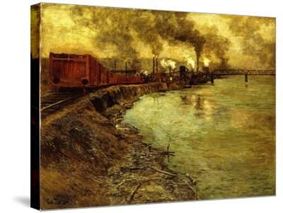 Freight Train, Dusk-Fritz Thaulow-Stretched Canvas Print