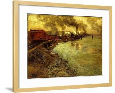 Freight Train, Dusk-Fritz Thaulow-Framed Giclee Print