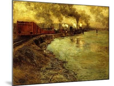 Freight Train, Dusk-Fritz Thaulow-Mounted Giclee Print