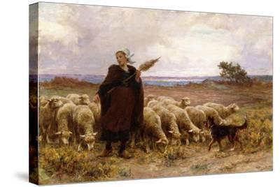 Shepherdess with Her Flock, 1907-Theophile Louis Deyrolle-Stretched Canvas Print