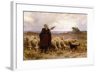 Shepherdess with Her Flock, 1907-Theophile Louis Deyrolle-Framed Giclee Print