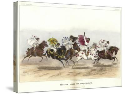 Five Costumed Monkeys on Horseback--Stretched Canvas Print