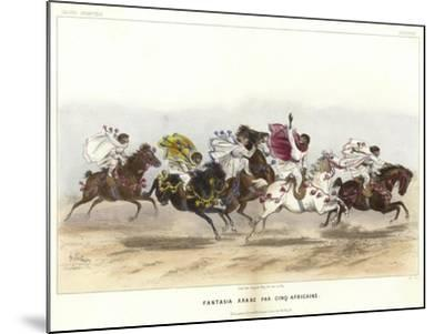 Five Costumed Monkeys on Horseback--Mounted Giclee Print