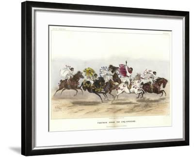 Five Costumed Monkeys on Horseback--Framed Giclee Print