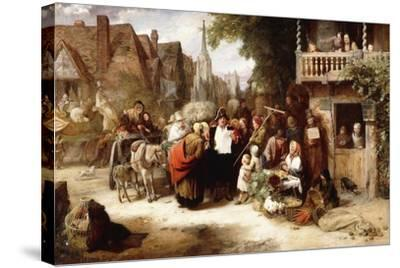 Market Day, the Arrival of the Hippodrome-George Bernard O'neill-Stretched Canvas Print