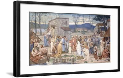 The Childhood of Saint Genevieve, 1874-Pierre Puvis de Chavannes-Framed Giclee Print